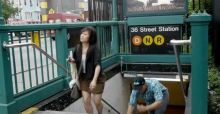 New York: U-Bahn mit Stolper-Treppe